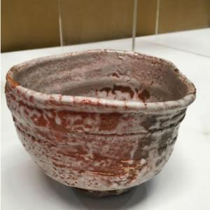 Medium Raku-Style earth-coloured bowl by Gordon Crosby